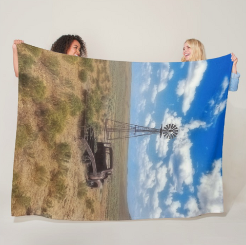 Windmill Over Lenzen Fleece Blanket