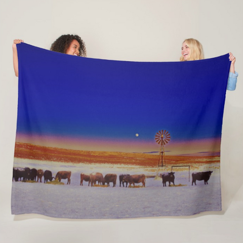 Windmill and Cows Night Feed Fleece Blanket