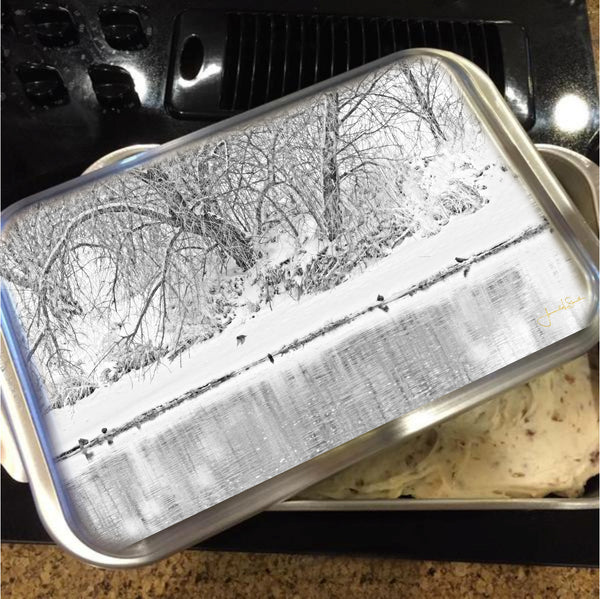 Winter Scene on the Platte River Cake Pan with Lid