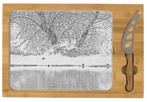 Winter Scene on the Platte River Cheese Board