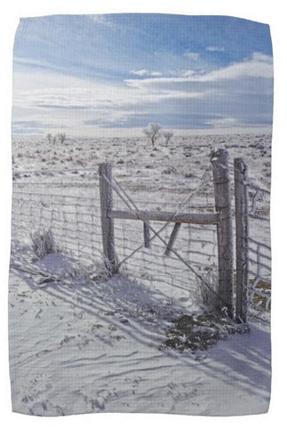Winter Sunlight On The South Fenceline Kitchen Towel