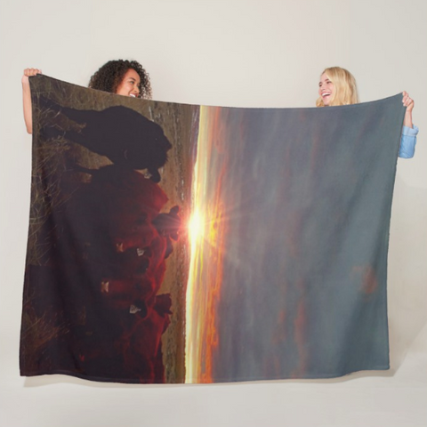 Winter Sunset at Night Feed Fleece Blanket
