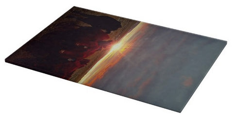 Winter Sunset at Night Feed Cutting Board