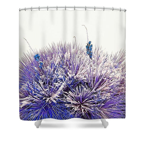 Winter Yucca in Blue Shower Curtain
