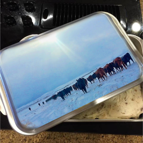 Wyoming Winter Push Cake Pan with Lid