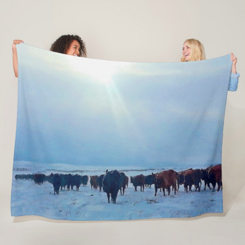 Wyoming Winter Push Fleece Blanket
