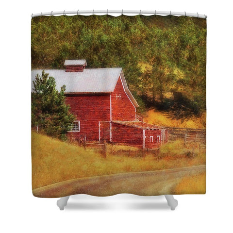 Autumn's Black Hills Barn Shower Curtain