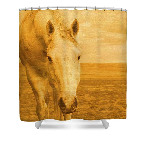 Beggar In Yellow Shower Curtain