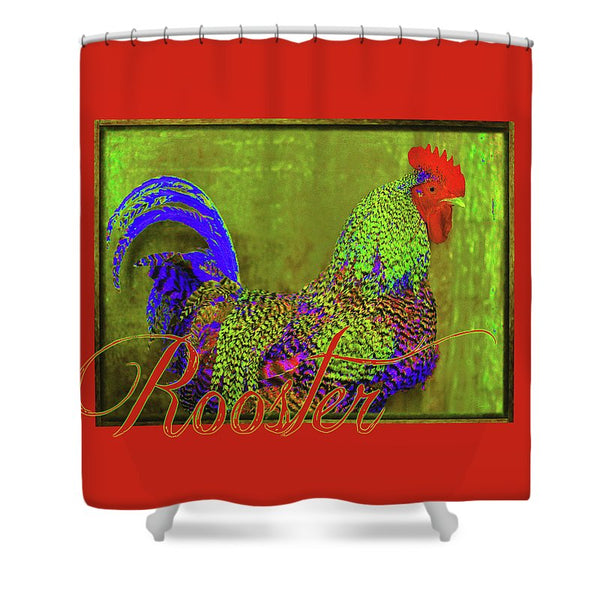 Bert the Rooster Red Shower Curtain