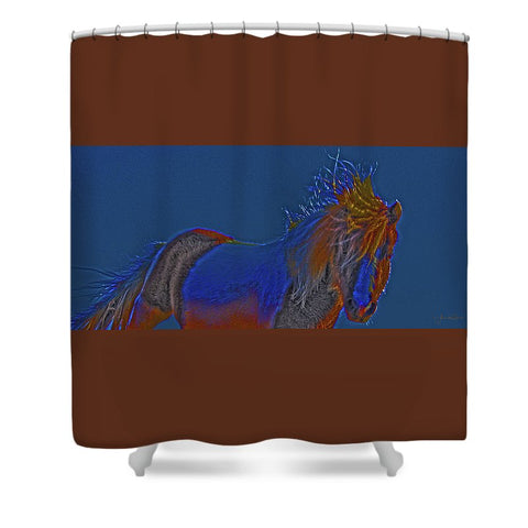 Blue Stallion Shower Curtain