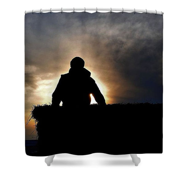 Bucking Hay at Sunrise Shower Curtain