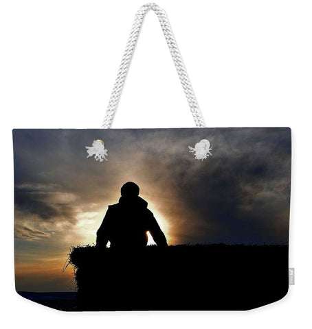 Bucking Hay at Sunrise Weekender Tote bag