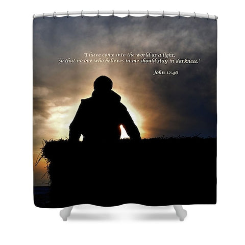 Bucking Hay at Sunrise Inspirational Shower Curtain