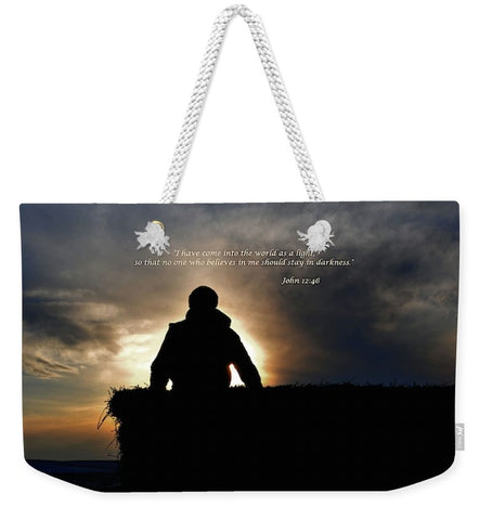 Bucking Hay at Sunrise Inspirational Weekender Tote bag