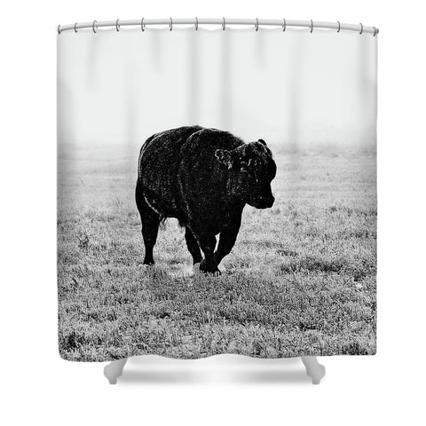 Bull After Ice Storm Shower Curtain