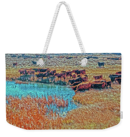 Cattails, Cattle And Sage Weekender Tote bag