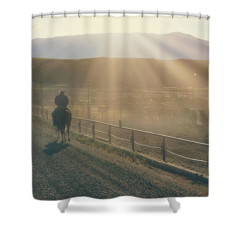 Checking the Lot at Sunset Shower Curtain