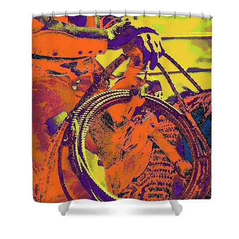 Electric Cowboy Shower Curtain
