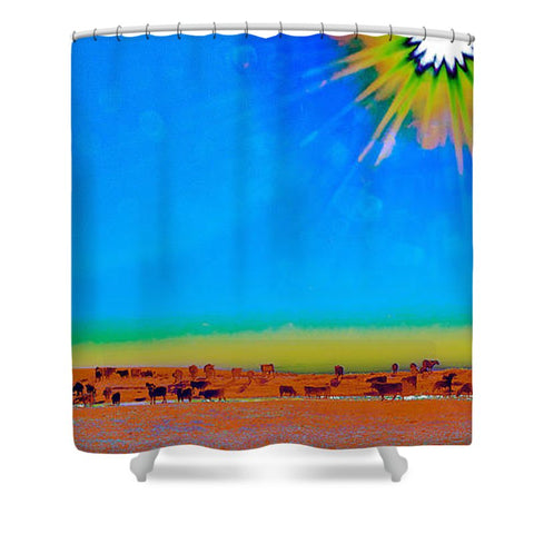 Hay Meadow To Water Shower Curtain