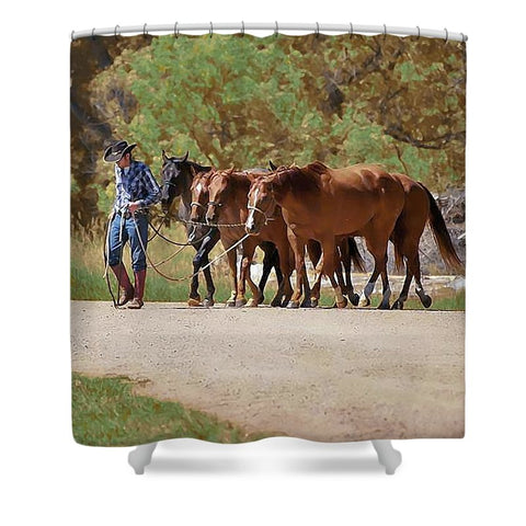 He Leads Me to Still Waters Shower Curtain