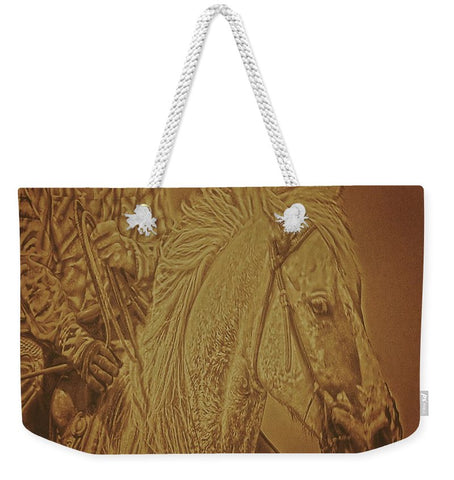 Listening in Sepia Weekender Tote bag