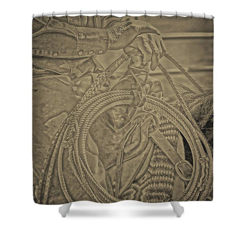 Milts Rope N Saddle Shower Curtain