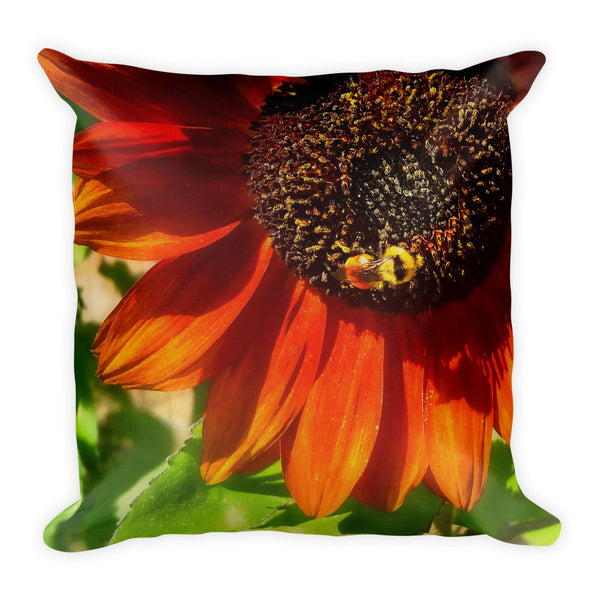Autumn Sunflower and Bumble Bee Throw Pillow