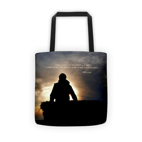 Bucking Hay At Sunrise Inspirational Tote bag