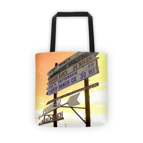 Wyoming Ranch Directions Tote bag