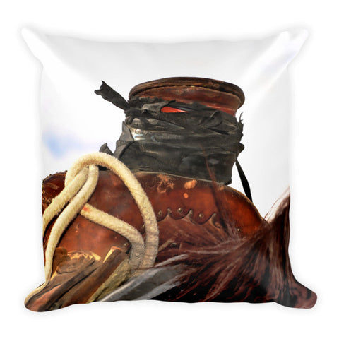 Open Range Roping Saddle Throw Pillow