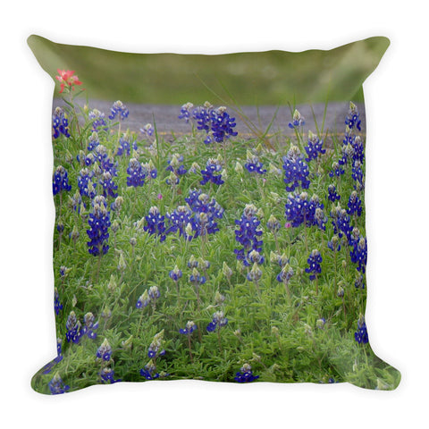 Red Paint over Blue Bonnets Throw Pillow