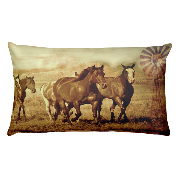 Wild Horses and Windmills Rectangular Pillow