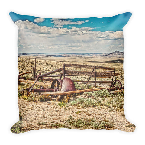 Wagon on Green Mountain Throw Pillow
