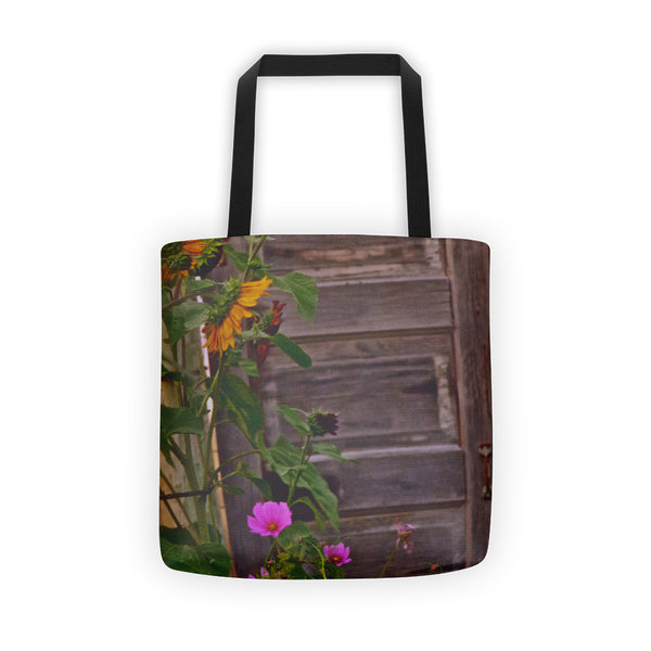 Old Kitchen Door And a Cottage Garden Tote bag