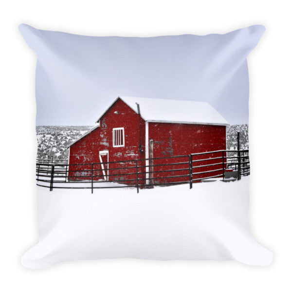 Red Barn in Winter Throw Pillow