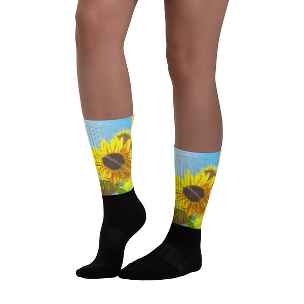 Sunflower and Sunlight - Black foot socks