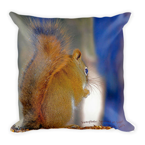 Snowflake Squirrel At Sunset Throw Pillow