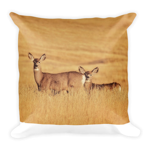 Sunset Deer Throw Pillow