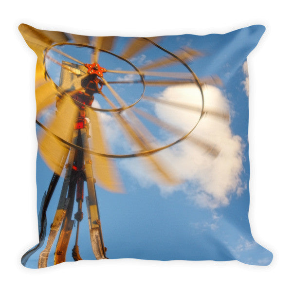 Red Wind Windmill Throw Pillow