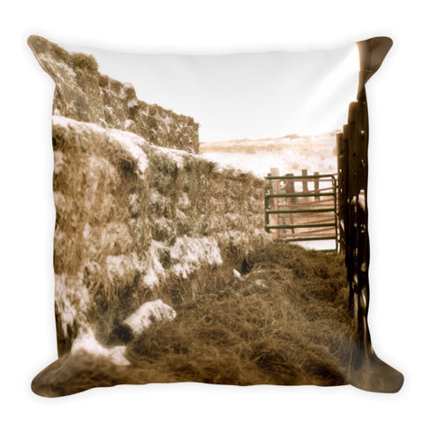 Winter Feed Lot Horizontal Throw Pillow