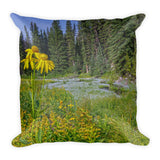 Gold and Pines Throw Pillow