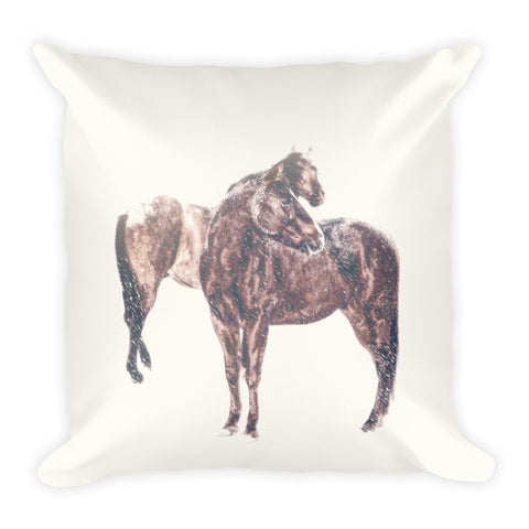 First Snow in Patina Throw Pillow