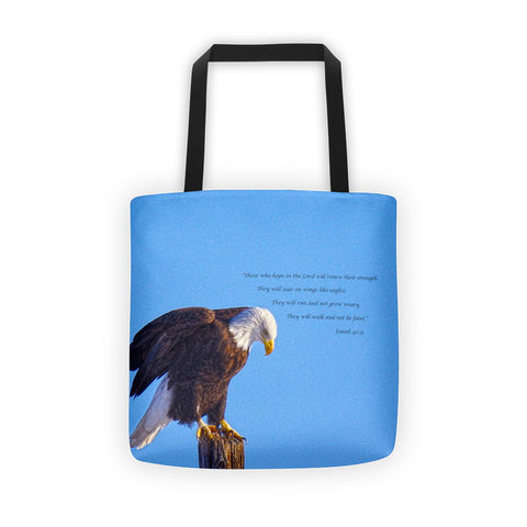 Preparing for Patriotic Flight Eagle Inspirational Tote bag