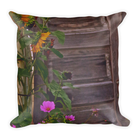 Old Kitchen Door And a Cottage Garden Throw Pillow