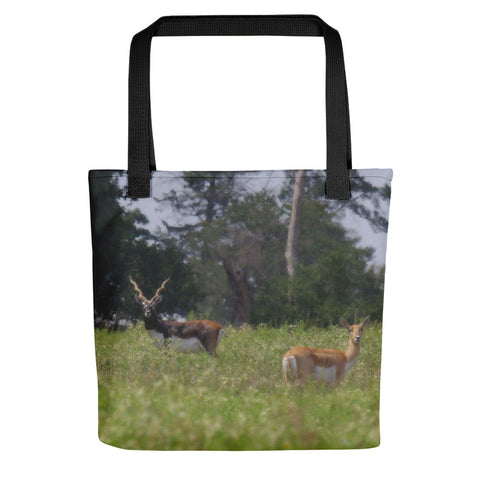 Black Buck and Doe Tote bag