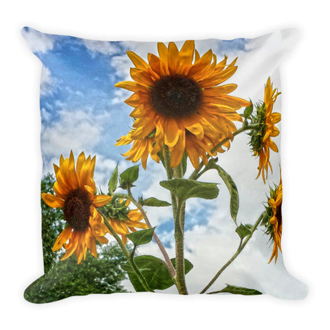 Sunflowers and Blue Throw Pillow
