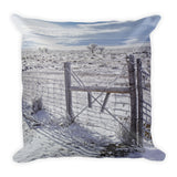 Winter Sunlight On The South Fenceline Throw Pillow