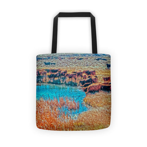 Cattails, Cattle And Sage Tote bag