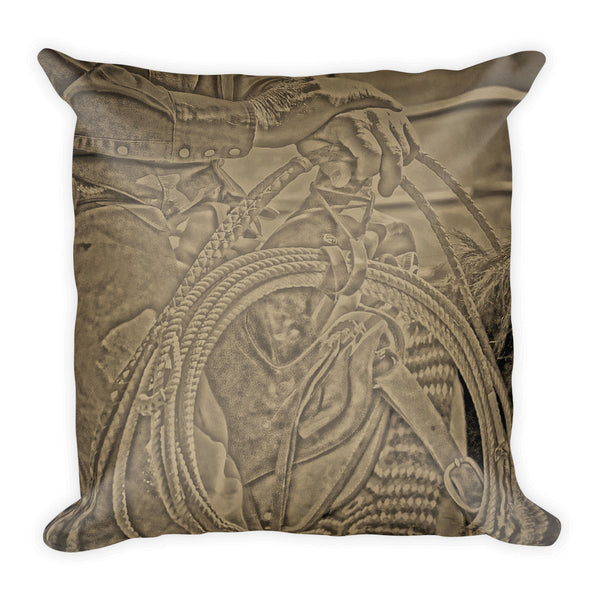 Milts Rope N Saddle Throw Pillow