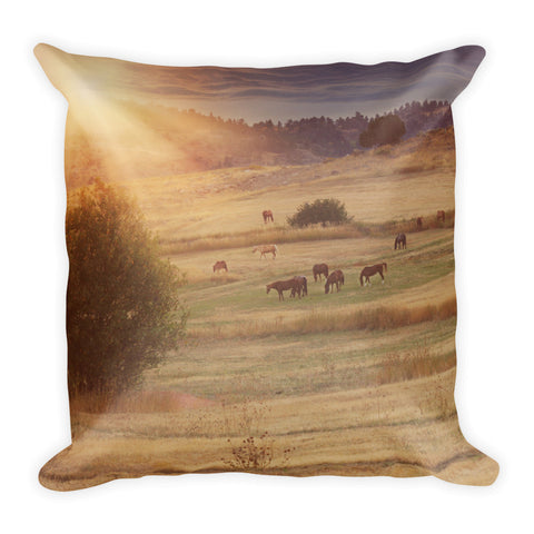 Sunset and Horses Throw Pillow